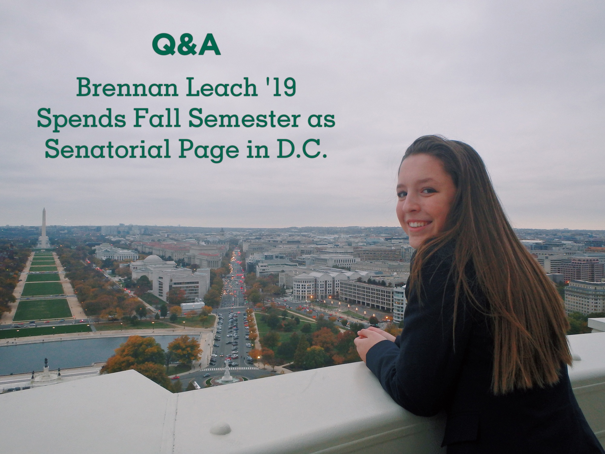 Brennan Leach '19 Spends Fall Semester as Senatorial Page in D.C.